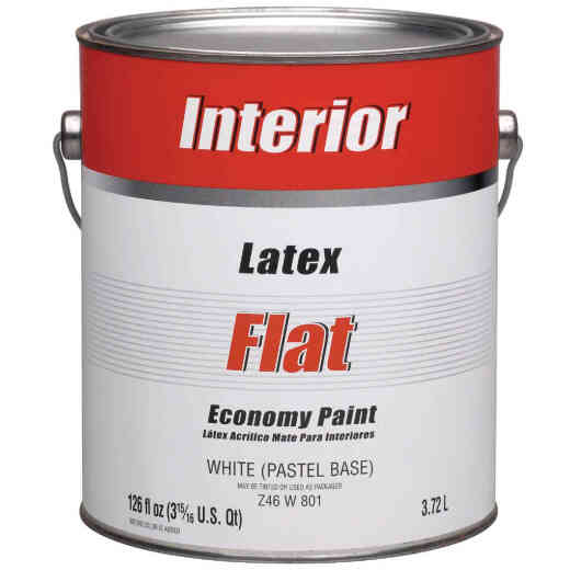 Economy Latex Flat Interior Wall Paint, White-Pastel Base, 1 Gal.