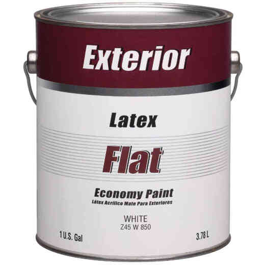 Economy Latex Flat Exterior House Paint, White, 1 Gal.