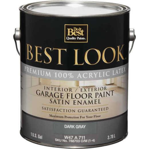 Best Look Latex Interior/Exterior Garage Floor Enamel, 1 Gal., Dark Gray