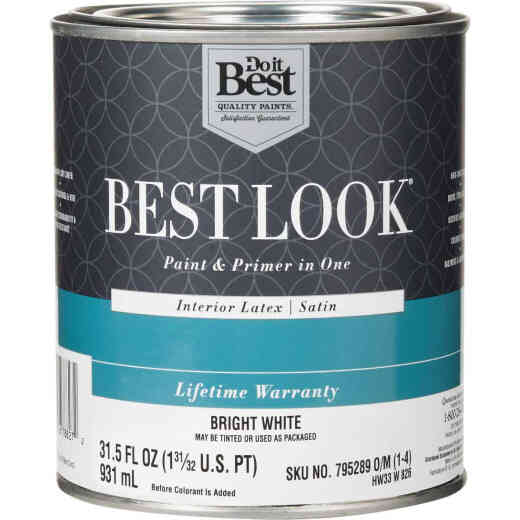 Best Look Latex Paint & Primer In One Satin Interior Wall Paint, Bright White, 1 Qt.