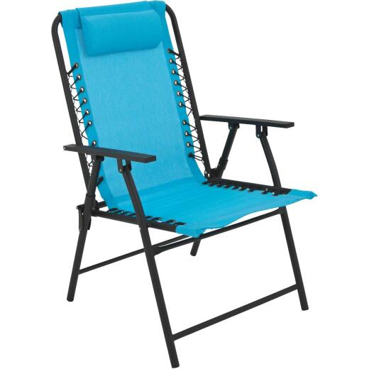 Outdoor Expressions Blue Polyester Bungee Folding Chair