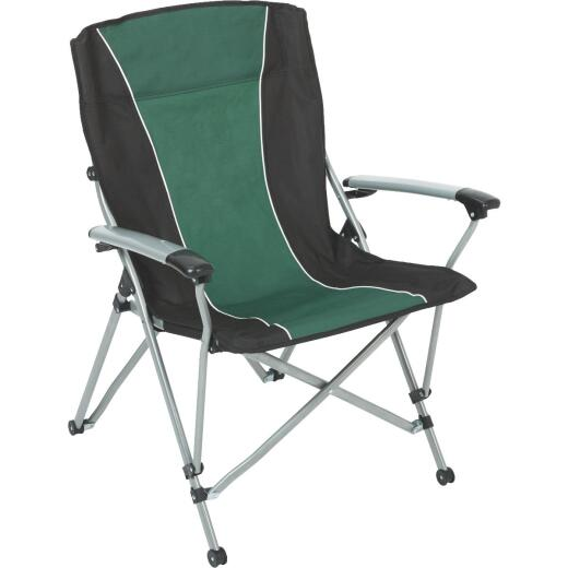 Outdoor Expressions Green & Black Sling Flat Arm Folding Chair