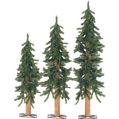 Sterling 2 Ft./3 Ft./4 Ft. Alpine 25/35/50-Bulb Clear Incandescent Prelit Artificial Christmas Tree Set