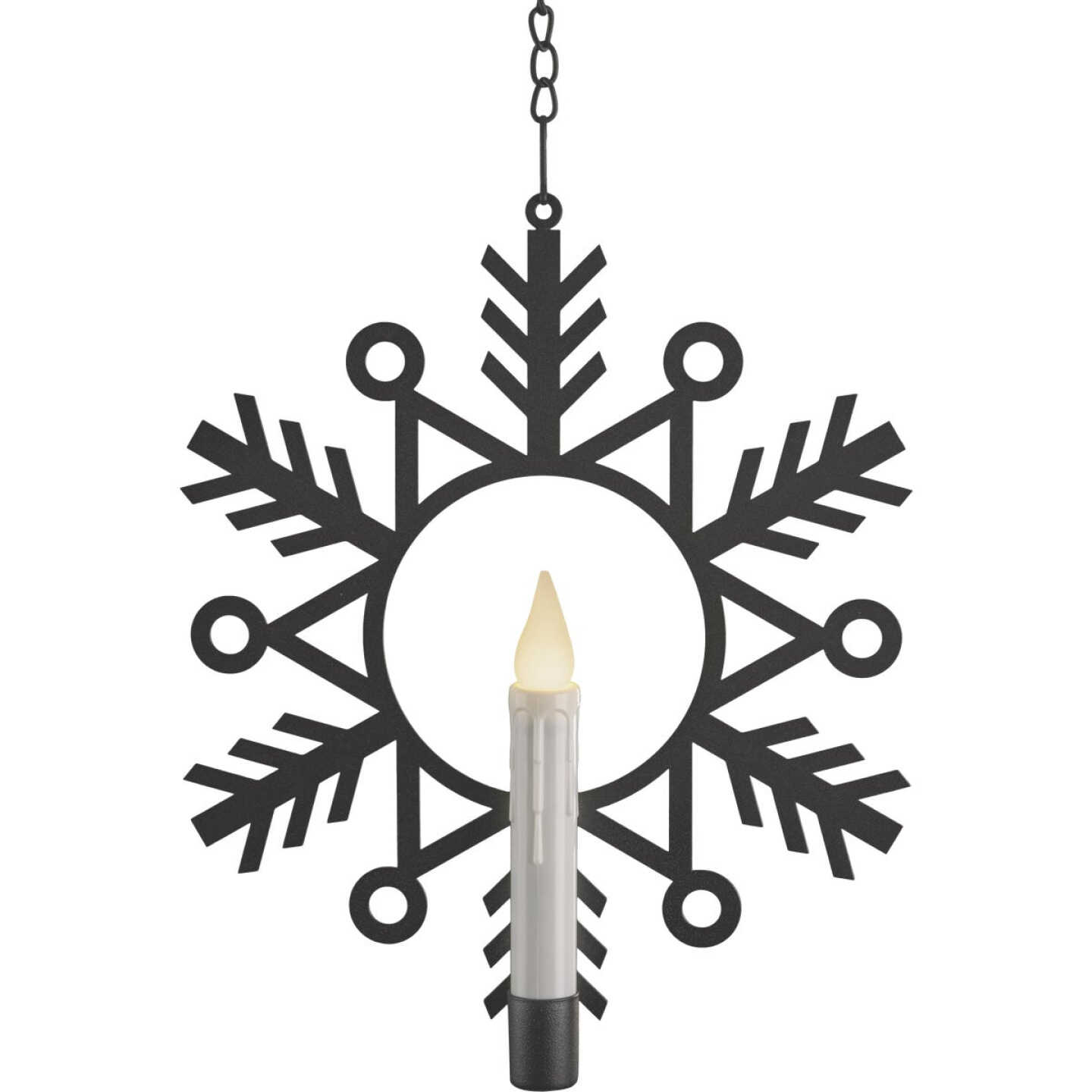 Xodus 12 In. x 9-1/2 In. x 3/4 In. Aged Bronze LED Battery Operated Wreath with Candle Image 1